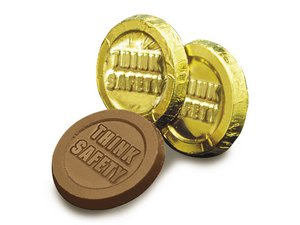 Milk Chocolate Think Safety Coins - Stock No Logo