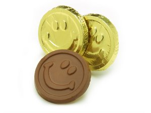 Milk Chocolate Smiley Face Coins in Gold Foil