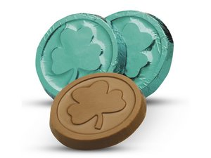 Milk Chocolate Shamrock Coins in Green Foil