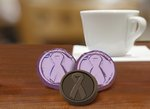 Cancer Awareness Chocolate Coin - Dark - Stock