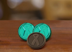 Liver Cancer Awareness Chocolate Coin - Dark