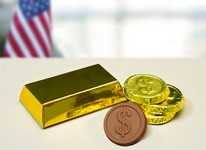 Gold Box with Dollar Coins