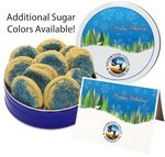 Blue Sugar Cookies in Tin with your Logo (20 Cookies)