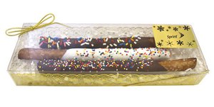 Chocolate Covered Pretzel Rods in Gold and Clear Gift Box (3)