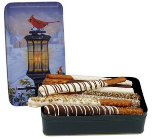 Chocolate Dipped Pretzel Rods in Rectangle Tin