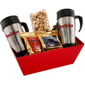 Tray with Mugs  and Caramel Popcorn