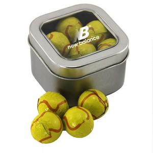 Window Tin with Chocolate Tennis Balls