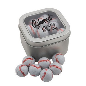 Window Tin with Chocolate Baseballs