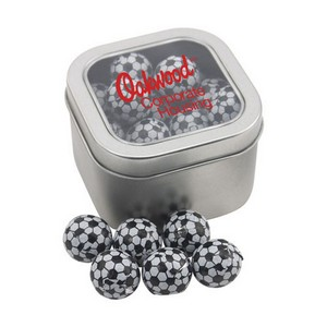 Window Tin with Chocolate Soccer Balls