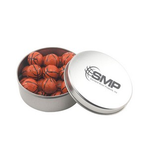 Round Tin with Chocolate Basketballs