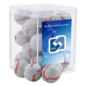 Acrylic Box with Chocolate Baseballs