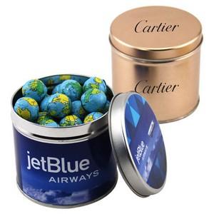 Round Tin with Chocolate Globes