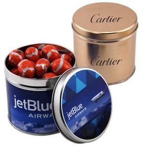 Round Tin with Chocolate Footballs