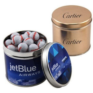 Round Tin with Chocolate Baseballs