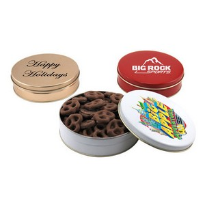 Gift Tin with Chocolate Covered Pretzels