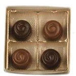 Truffles In Silver Box  - 4 Piece Assorted