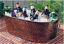Copper Beverage Tub Gourmet Gift Basket - Blue Ribbon