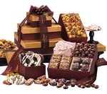 Chocolate, Pretzels and Caramel Gift Tower of Sweets