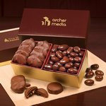 Pecan Turtles & Chocolate Almonds in Burgundy & Gold Gift Box