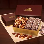English Butter Toffee & Deluxe Mixed Nuts in Burgundy & Gold Gift Box