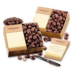 Beech Post-it Note Holder packed in gift box with Milk Chocolate