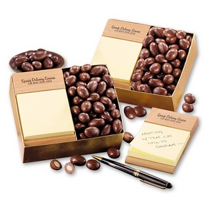 Post-it Note Holder with Chocolate Covered Almonds