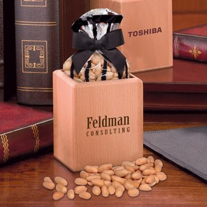 Hardwood Pen & Pencil Cup with Choice Virginia Peanuts