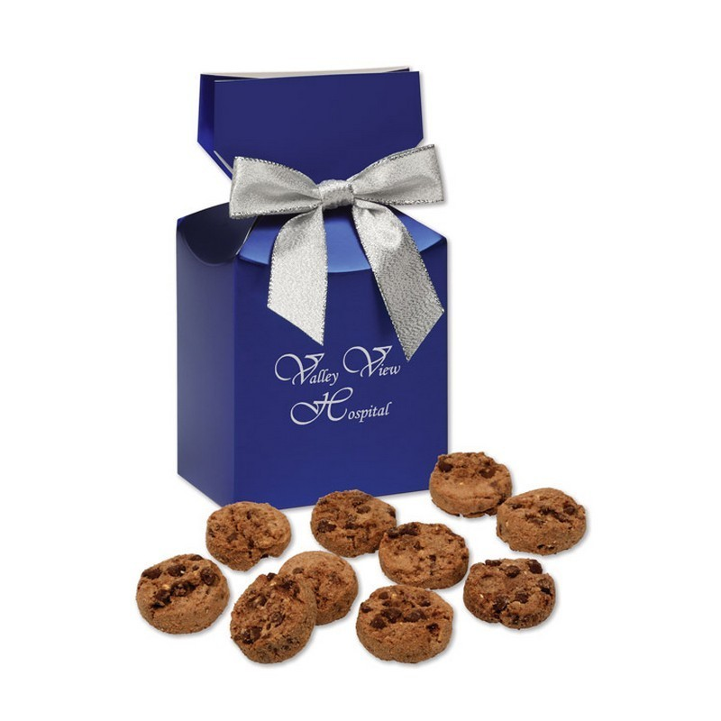 Gourmet Bite-Sized Chocolate Chip Cookies in Blue Premium Delight