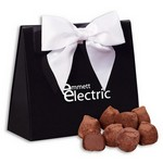 Cocoa Dusted Truffles in Black & White Triangular Gift Boxes