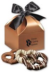 Chocolate Dipped Pretzels in Copper Gift Box