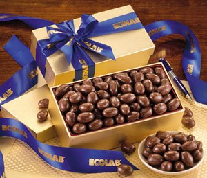 Milk Chocolate Almonds in Gold Gift Box with Logo