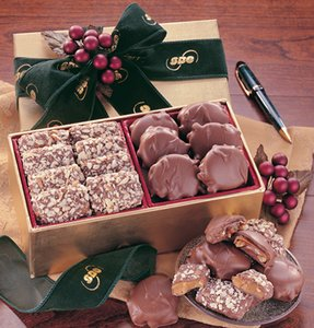 English Butter Toffee & Pecan Turtles in Gold Gift Box with Logo 