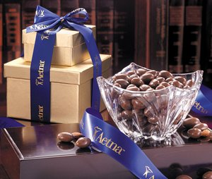 Milk Chocolate Almonds in Genuine European Crystal Bowl
