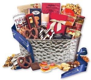 Epicurean Feast Gourmet Gift Basket - Satin Burgundy