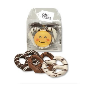 Gable Top Gift Box with Chocolate Dipped Pretzels