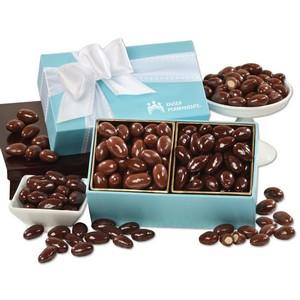Milk & Dark Chocolate Almonds in Robin's Egg Blue Gift Box