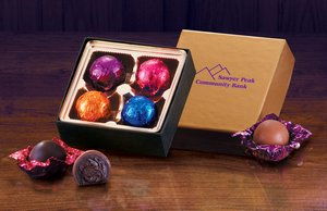 Gold Gift Box with Chocolate Truffles - 4 Pieces 