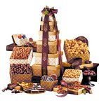 Chocolates, Nuts and Pretzels Golden Delights Gift Tower