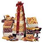 Golden Delights Tower - Burgundy Ribbon