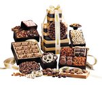 Chocolate Pretzels and Nuts Deluxe Office Party Gift Tower