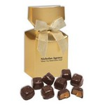 Barrel-Aged Bourbon Caramels in Gold Gift Box