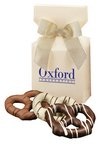 Chocolate Covered Pretzels in Ivory Gift Box with Your Logo