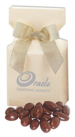 Chocolate Covered Almonds in Ivory Gift Box with Your Logo