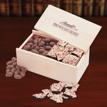 Peppermint Bark & Chocolate Almonds in Wooden Gift Box