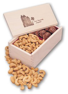 Pecan Turtles and Cashews in Wooden Gift Box