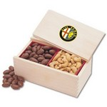Milk Chocolate Covered Almonds & Jumbo Cashews in Wooden Collecto