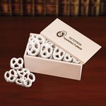 White Chocolate Pretzels in Wooden Gift Box