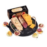 Round Slate Serving Plate with Wisconsin Cheese and Sausage