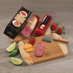 A Taste of Wisconsin - Cheese and Summer Sausage on Cutting Board