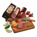 Gourmet Assortment with Acacia Charcuterie Serving Board - Wisconsin cheese, spicy beef summer sausage, and More